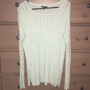 American eagle teal sweater with zippers on side
